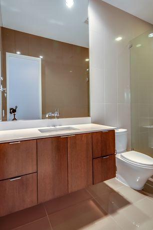 Contemporary 3/4 Bathroom with Standard height, frameless showerdoor, European Cabinets, Undermount sink, flat door, Flush