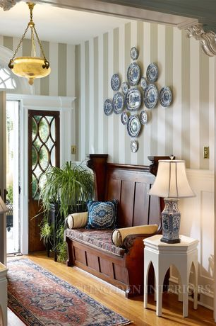 Traditional Entryway with Pendant light, Transom window, Spode Dinnerware, Blue Italian Collection, Built-in bookshelf