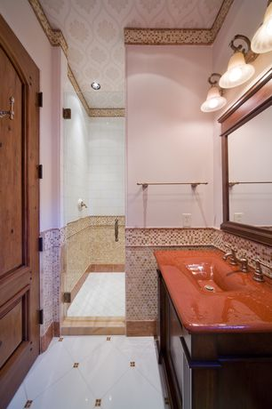 3/4 Bathroom with Standard height, specialty door, Ceramic Tile, Shower, three quarter bath, Glass counters, Paint 1, Paint 3