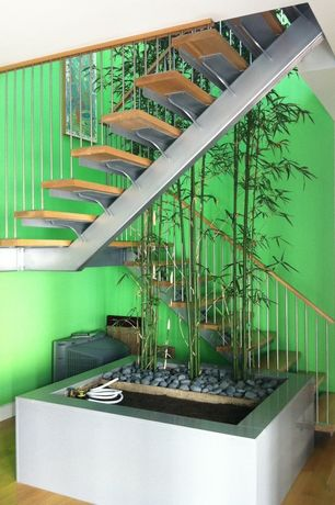 Contemporary Staircase with High ceiling, Hardwood floors, Floating staircase, Metal staircase
