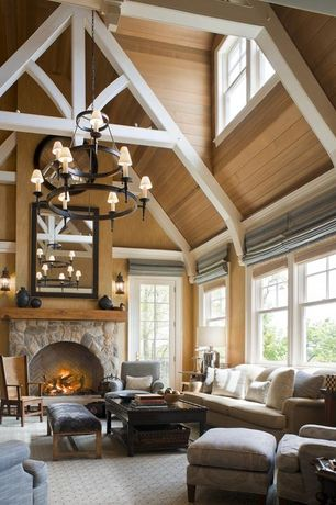 Traditional Living Room with Crown molding, Uttermost arnez mercury glass table lamp, Exposed beam, Chandelier, Wall sconce