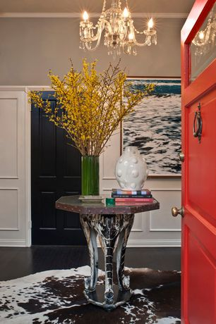 "Eclectic Entryway with 24 Pieces 38"" Forsythia Artificial Silk Flower Bendable Sprays, Safavieh Faux Hide FAH160 Rug"