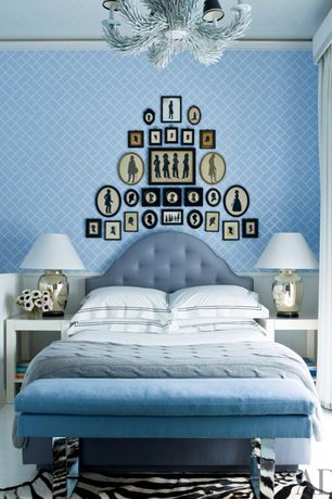 Eclectic Master Bedroom with Chandelier, Paint 1, Pottery Barn Tall Pierce Bedside Lamp Base, Hardwood floors, Gallery wall