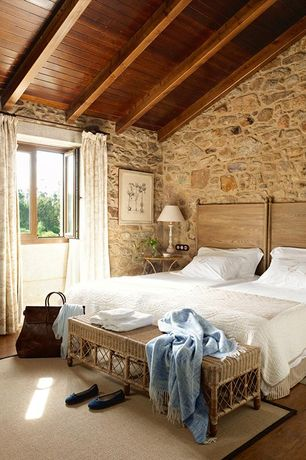 Rustic Master Bedroom with Restoration Hardware Louis XVI Bed Without Footbed, Zinc Door Redford House Faux Bamboo Bench