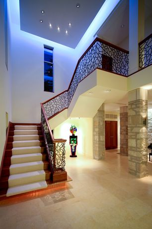 Modern Staircase with Columns, High ceiling, Spiral staircase, Concrete tile