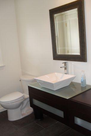 Modern Powder Room with Square White Ceramic Vessel Bathroom Caracalla Sink CA4256