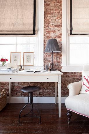 Contemporary Home Office with Industrial backless wood top adjustable stool, Casement, Hardwood floors, interior brick