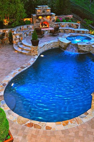 "Traditional Swimming Pool with Fence, exterior stone floors, Home loft concept molino 29.5"" bar stool with cushions"