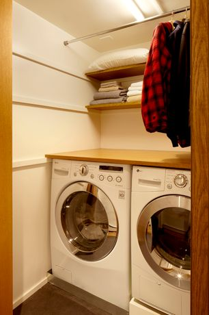 Contemporary Laundry Room with Concrete floors, Undermount sink, Hanging Bar, flush light, Standard height
