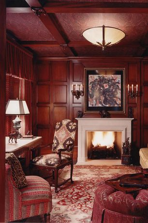 Traditional Home Office with Exposed beam, Wainscotting, Crown molding, Wall sconce, Standard height, Cement fireplace