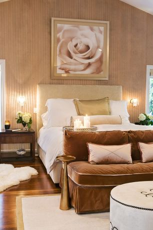 Contemporary Master Bedroom with picture window, bedroom reading light, Hardwood floors, High ceiling, interior wallpaper