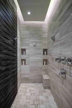 Contemporary Master Bathroom with can lights, stone tile floors, Standard height, three quarter bath, Shower