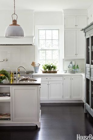 Traditional Kitchen with Undermount sink, Pendant light, Inset cabinets, Corian counters, L-shaped, Flat panel cabinets