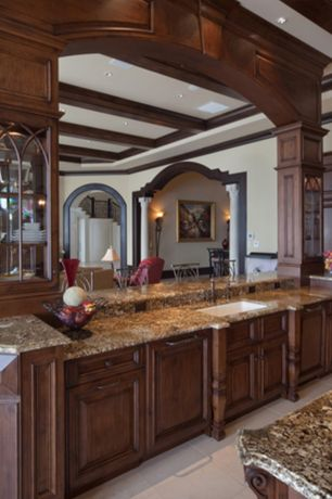 Traditional Kitchen with Emser St. Moritz Ivory Porcelain Floor and Wall Tlie, Ms international almond gold granite