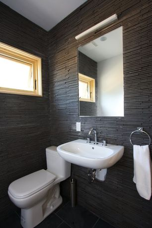Modern Powder Room with Wall mount sink, Split face tile, Wall mounted sink, Modern toilet, Powder room