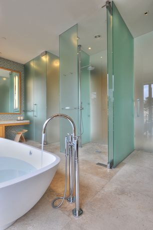 Contemporary Master Bathroom with Rain shower, Freestanding, Casement, Quartz counters, Inset cabinets, Master bathroom