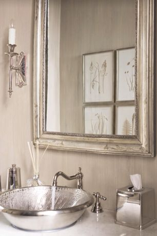 Traditional Powder Room with Powder room, Afina Estate Framed Wall Mirror, Wall sconce, Complex marble counters, Vessel sink