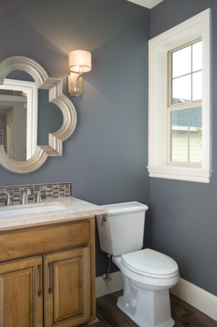 Traditional Powder Room with Powder room, Shades of light sophisticated scroll and glamour wall sconce, Undermount sink