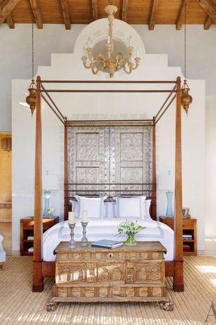 Eclectic Master Bedroom with specialty door, High ceiling, Exposed beam, Louvered door, Chandelier, Paint 1, Concrete floors