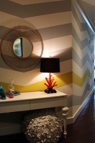 Eclectic Hallway with interior wallpaper, Hardwood floors, Crown molding