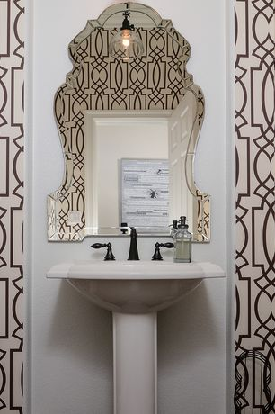 Contemporary Powder Room with Imperial Trellis II Java/Cream Wallcovering, Uttermost Hovan Wall Mirror, Pendant light