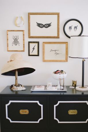 Art Deco Guest Bedroom with Portrait wall frame, gold, High ceiling, White linen drum lamp shade with black piping