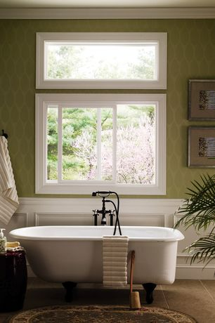 Traditional Master Bathroom with High ceiling, Interiorplace- diamond pattern wallpaper, sliding window, Bathtub, Casement