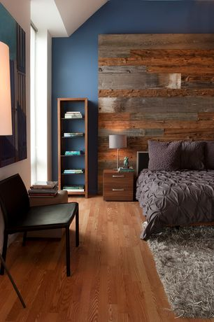 Contemporary Master Bedroom with Hardwood floors, Asher 2-drawer nightstand, West elm stikwood adhesive wood paneling