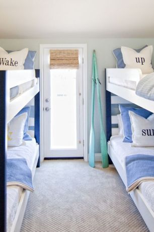 "Cottage Kids Bedroom with Pair painted paddles wood, Custom ""wake up & surf!"" pillows, French doors, Carpet, Paint"
