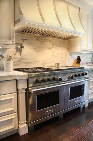 "Traditional Kitchen with double oven range, Custom hood, 60"" GAS RANGE - 6 BURNERS, INFRARED CHARBROILER AND INFRARED GRIDDLE"