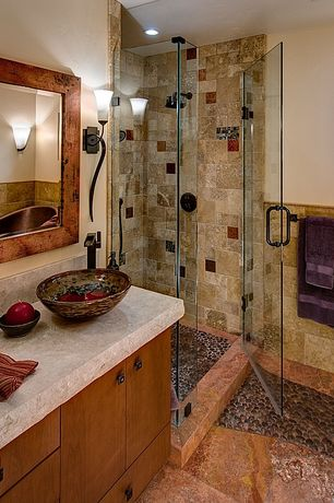 Rustic 3/4 Bathroom with Vigo Glass Vessel Bathroom Sink and Blackstonian Faucet Set, three quarter bath, Rain shower, Shower