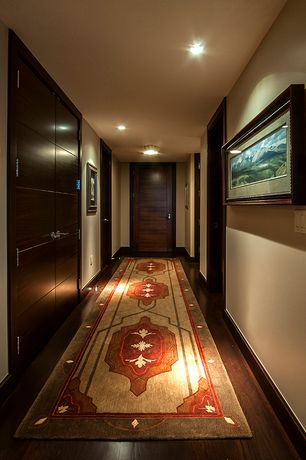 Traditional Hallway with Hardwood floors, French doors, Standard height, can lights, specialty door, flush light