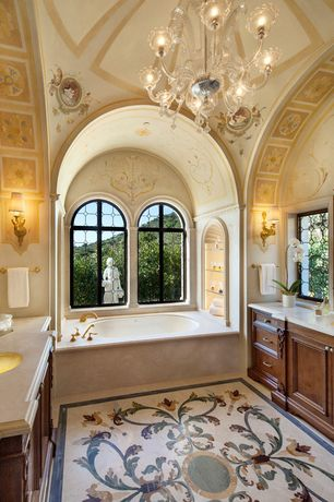 Traditional Master Bathroom with Chandelier, Kitchen Craft, Traditional Cabinet Door Style, Wall sconce, Limestone counters
