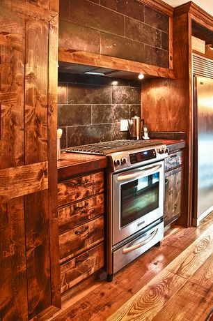 """Rustic Kitchen with One-wall, Samsung - 30"""" Self-Cleaning Slide-In Gas Convection Range - Stainless-Steel, Wood counters"""