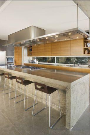 Contemporary Kitchen with Brooks custom engineered concrete countertops - verdicrete, L-shaped, European Cabinets, Flush