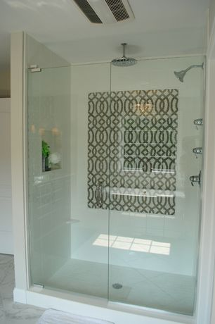 Contemporary Master Bathroom with Rain shower, Overstock oasis 700-r rain showerhead, frameless showerdoor