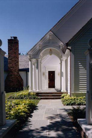 Traditional Front Door with Arbor, exterior stone floors, Fence, exterior tile floors, Pathway