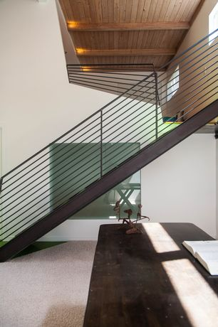 Contemporary Staircase with Exposed beam, Carpet, Cathedral ceiling, Metal staircase, Loft