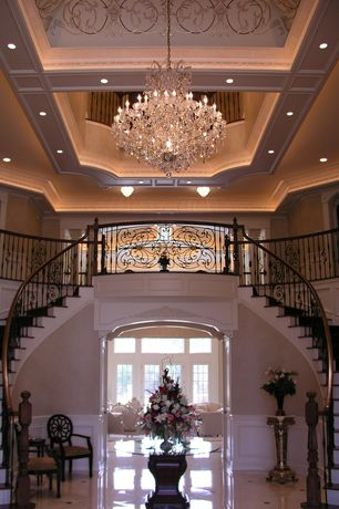 Traditional Entryway with Wood banister, Crystorama Imperial Chrome 12-light Crystal Chandelier, Loft, Crystal chandelier