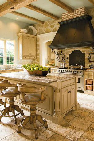 Mediterranean Kitchen with pental coliseu polished granite, Undermount sink, Breakfast bar, Complex granite counters
