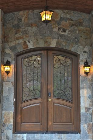 Traditional Front Door with Canarm madison outdoor rustic bronze wall lantern with watermark glass, Arched doorway
