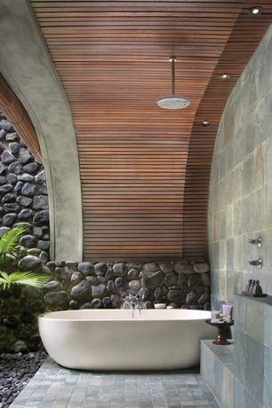 Contemporary Master Bathroom with MS International Earth Slate Tile, High ceiling, Rain shower, Master bathroom, Freestanding