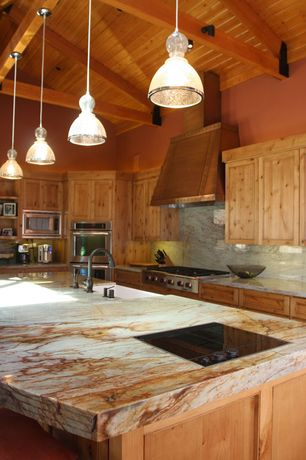 Rustic Kitchen with Seeded glass pendant light, Pendant light, L-shaped, Exposed beam, High ceiling, Onyx, Custom hood, Flush