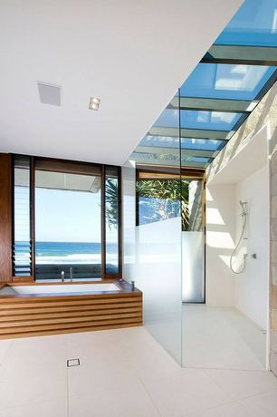 Modern Full Bathroom with Skylight, Handheld showerhead, Frameless, picture window, Undermount bathtub, Glass panel