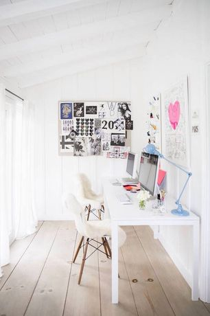 Traditional Home Office with West elm parsons desk with drawers - white, West elm embellished cutwork curtain, Exposed beam