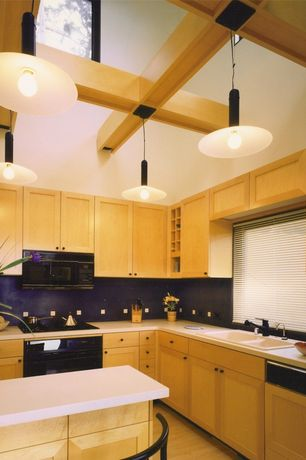 Modern Kitchen with built-in microwave, Kitchen island, electric cooktop, Cathedral ceiling, specialty window, Pendant light