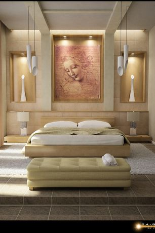 Master Bedroom with Pendant light, Standard height, simple granite tile floors, Box ceiling, can lights, stone tile floors