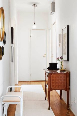 Contemporary Hallway with Oak - Seashell 2 1/4 in. Solid Hardwood Strip, Pendant light, Hardwood floors
