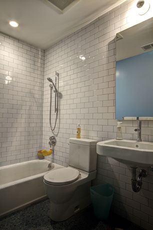 Traditional Full Bathroom with Delta Compel Single Hole 1-Handle Mid Arc Bathroom Faucet, can lights, Subway Tile, Wall Tiles