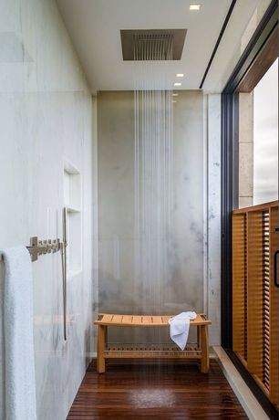 Contemporary Master Bathroom with Mti teak shower tray, specialty door, Master bathroom, picture window, High ceiling, Shower